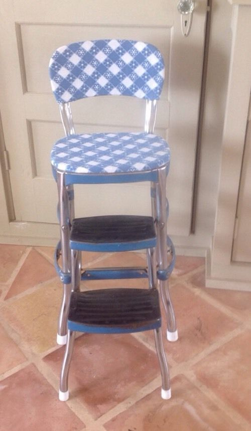 Vintage cosco step stool chair mid century farmhouse retro blue white chrome : vintage metal step stool chair - islam-shia.org