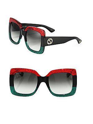 Gucci 55MM Oversized Square Colorblock Sunglasses - Red