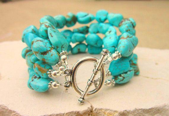Blue Green Turquoise Nugget Bracelet. Chunky Turquoise Howlite Bracelet. Four Strand Toggle Bracelet. Turquoise Jewelry. Howlite Jewelry