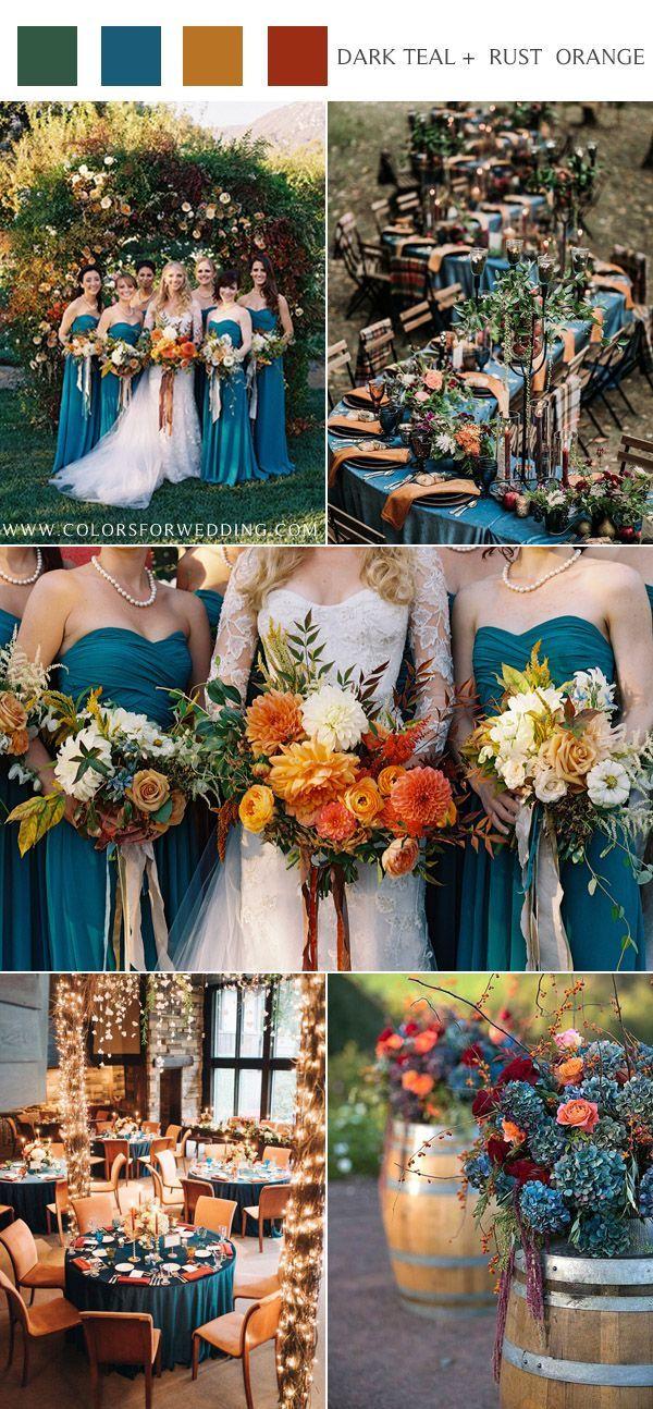 20 Dark Teal And Rust Orange Wedding Color Ideas For Fall Orange Wedding Colors Dark Teal Weddings Orange Wedding
