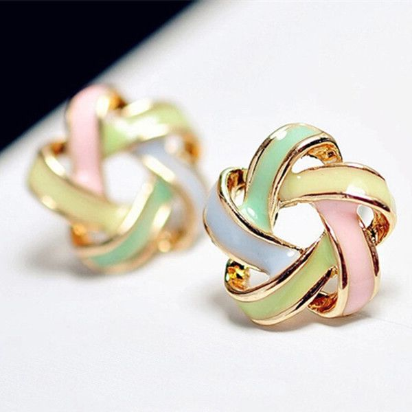 2015 New Fashion Novel Jewelry Color Stripe Earrings For Women Trendy Brincos Pequenos Stud Earrings E259