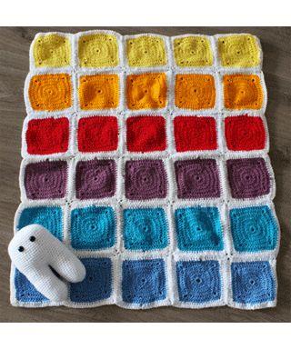 """Mantita tejida a crochet de muchos colores """"Que Tramas"""""""