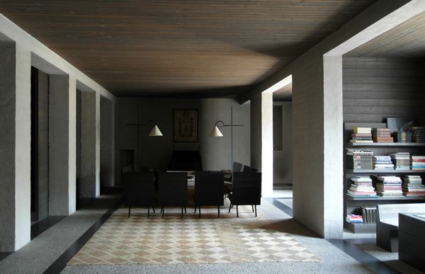 Interior of the house of architect Jan de Jong in Schaijk, The Netherlands. De Jong was the most gifted student of dom. Hans van der Laan. The influence of the master shows clearly in the design of Jan de Jong's own house. Masterly orchestration of light and shadow which beautifully illustrates the point of the book 'In Praise of Shadows'.