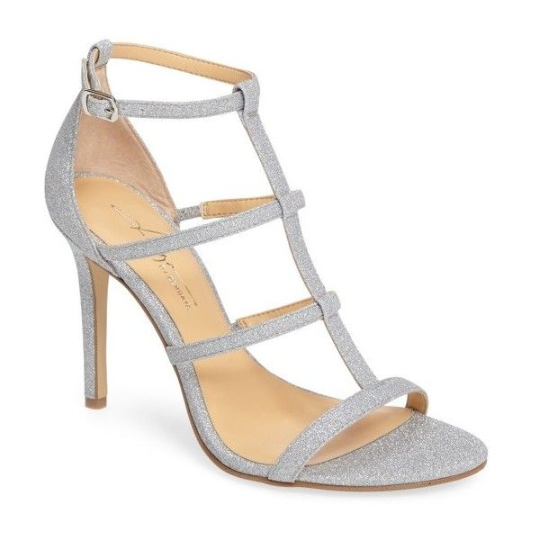 Women's Daya By Zendaya Myra Strappy Sandal (£62) ❤ liked on Polyvore featuring shoes, sandals, silver glitter, silver t strap sandals, glitter shoes, strappy sandals, silver strap sandals and t strap sandals