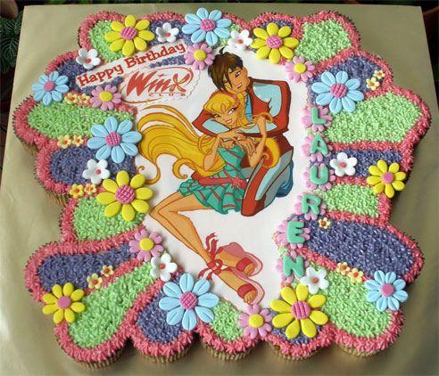 Winx Club Cupcake Cake OMG! STELLA AND BRANDON