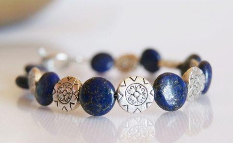 Lápisz lazuli ásvány ékszer szett, franciakapcsos fülbevaló és karkötő, Ékszer, óra, Ékszerszett, Fülbevaló, Karkötő, Meska