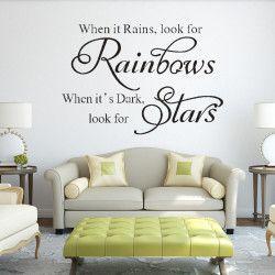 Look for rainbows!  When it rains, look for rainbows. When it's dark, look for stars. Snyggt inspirerande väggdekor som förutom motivet även har en väldigt iögonfallande storlek!  Länk till produkt: http://www.feelhome.se/produkt/look-for-rainbows/  #Homedecoration #art #interior #design #Walldecor #väggdekor #interiordesign #Vardagsrum #Kontor #Modernt #vägg #inredning #inredningstips #heminredning #citat #regnbåge #motivation