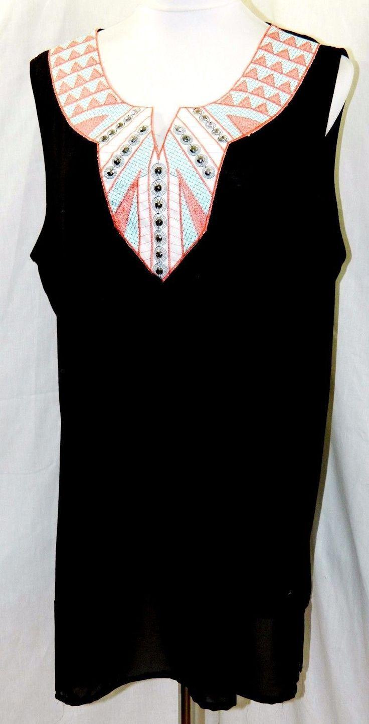 Espresso Women Plus Size 1X 2X 3X Black Aztec Beaded Tank Cami Top Blouse Shirt