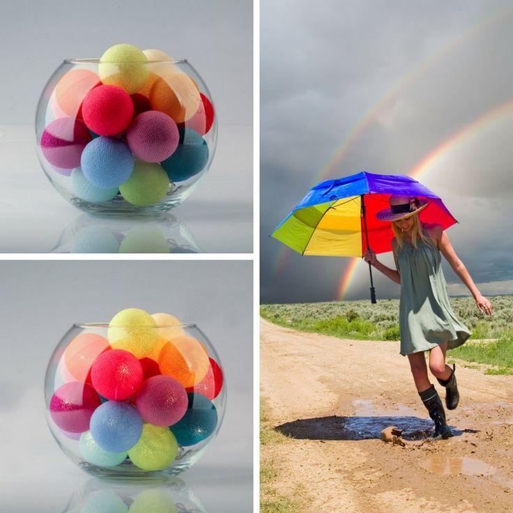 """Добавим красок в дождливый день! Тайские фонарики «Rainbow» 20 шт. - единственная наша расцветка, у которой все цвета шариков разные. / Multicoloured cottonball lights """"Rainbow""""."""