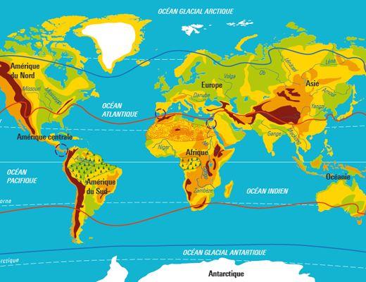 Cette carte « à calques » a pour objectif de montrer les grands repères terrestres (lignes imaginaires, zones climatiques, continents, océans, isthmes, détroits, reliefs, forêts denses, déserts) qui nous permettent d'analyser et de comprendre comment vivent les hommes et les femmes. L'activité consiste à repérer les grands repères terrestres, en les affichant ou en les masquant sur la carte.