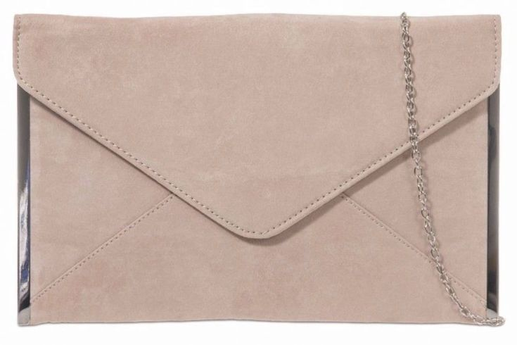 A nude beige coloured faux suede slim envelope style clutch bag shoulder bag with silver tone trim to the side The bag fastens with a flap over the