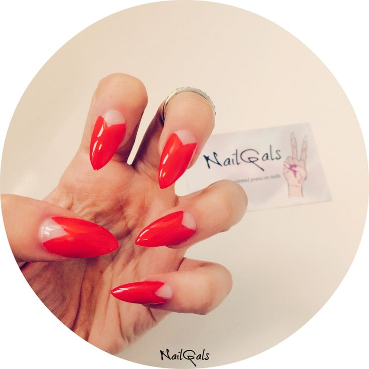 Red Chevron half moon stiletto nails set of 20! hand painted - nail art - press on nails - glue on nails - false nails - acrylic nails by NailGalsBoutique on Etsy https://www.etsy.com/listing/231525372/red-chevron-half-moon-stiletto-nails-set