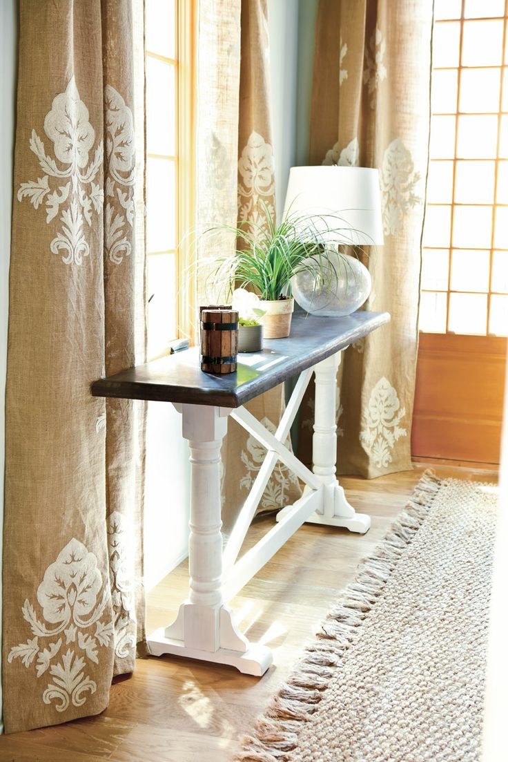 I Love These Stenciled Curtains   From The Southern Living Idea House Via  Ballard Designs