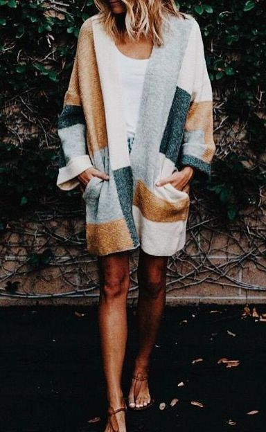 Patched cardigan.