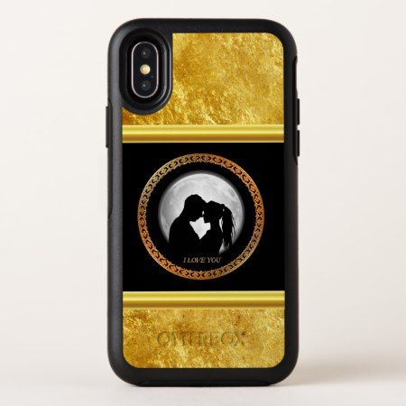 Young couple black silhouette kissing one another OtterBox symmetry iPhone x case - tap to personalize and get yours. Follow link to change to your brand names and styles.#iPhonex #otterbox #protective #cute