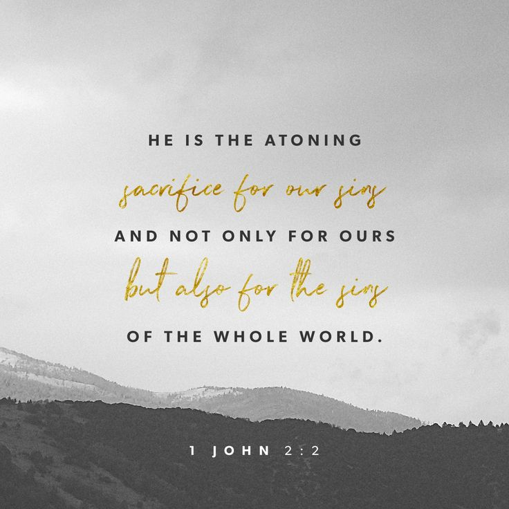 My dear children, I write this to you so that you will not sin. But if anybody does sin, we have an advocate with the Father—Jesus Christ, the Righteous One. He is the atoning sacrifice for our sins, and not only for ours but also for the sins of the whole world.