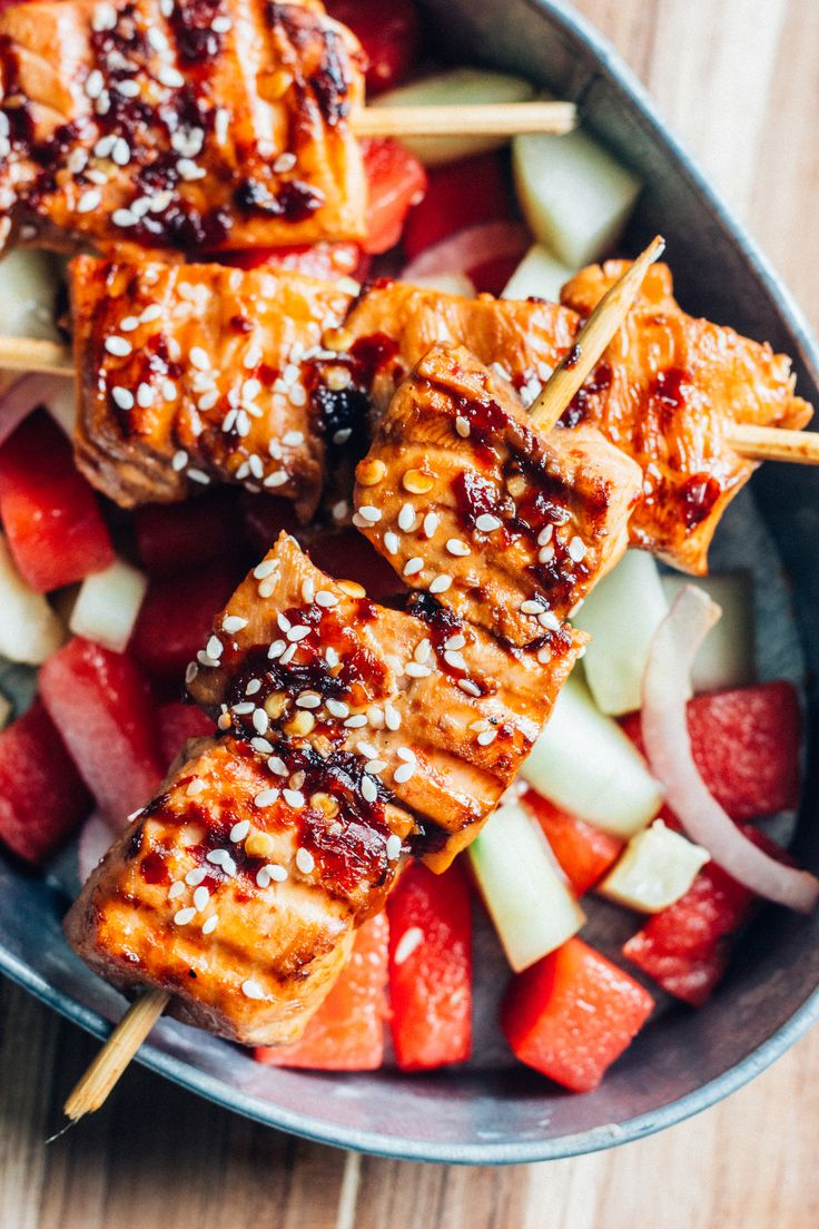 Sesame salmon and watermelon cucumber salad