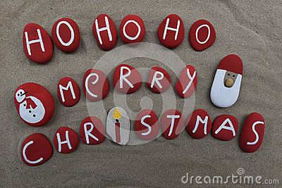 Santa Claus message of Merry Christmas on red colored stones