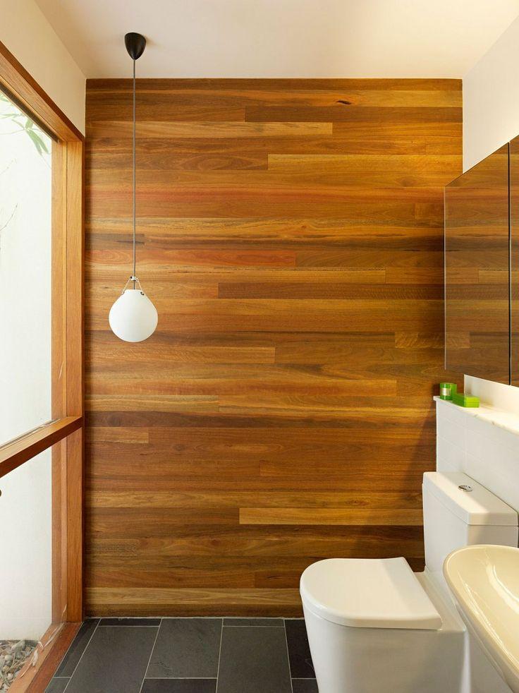 fine bathroom wood feature wall light