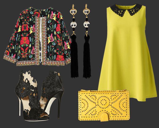 Пиджак с цветочным принтом, желтое платье, черные серьги, черные босоножки и желтый клатч