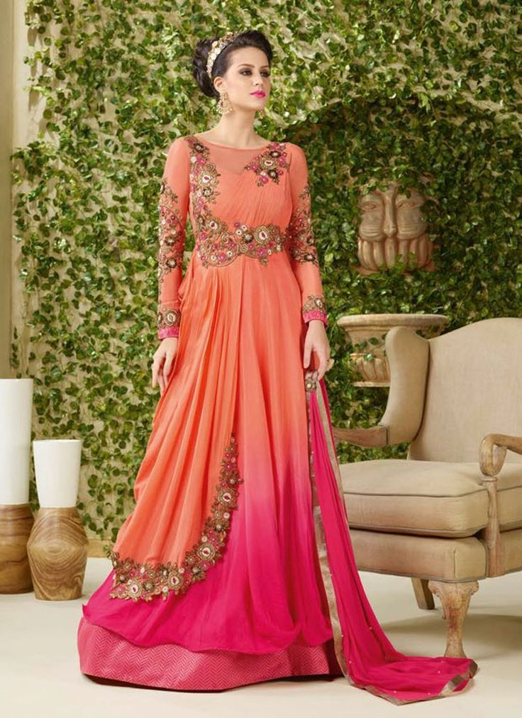 Peach Georgette Party Wear Gown