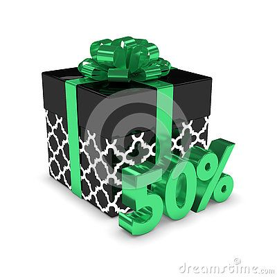 3d rendering of gift box with 50% discount  over white background