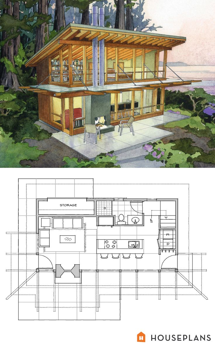 Modern cabin home plan by Washington Architects