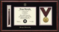 Strayer University - Tassel And Medal Edition Diploma Frame in Southport with Black and Maroon Mats
