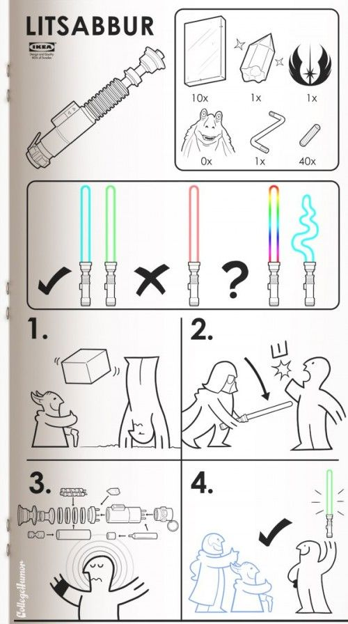 IKEA light saber: Geek, Stuff, Litsabbur, Funny, Star Wars, Ikea Manual, Ikea Lightsaber, Sci Fi, Starwars