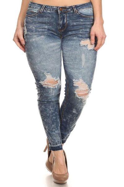 Plus Size Rocker Acid Wash Distressed Denim Jeans