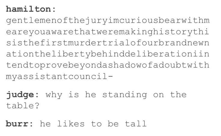 Hamilton likes to be tall