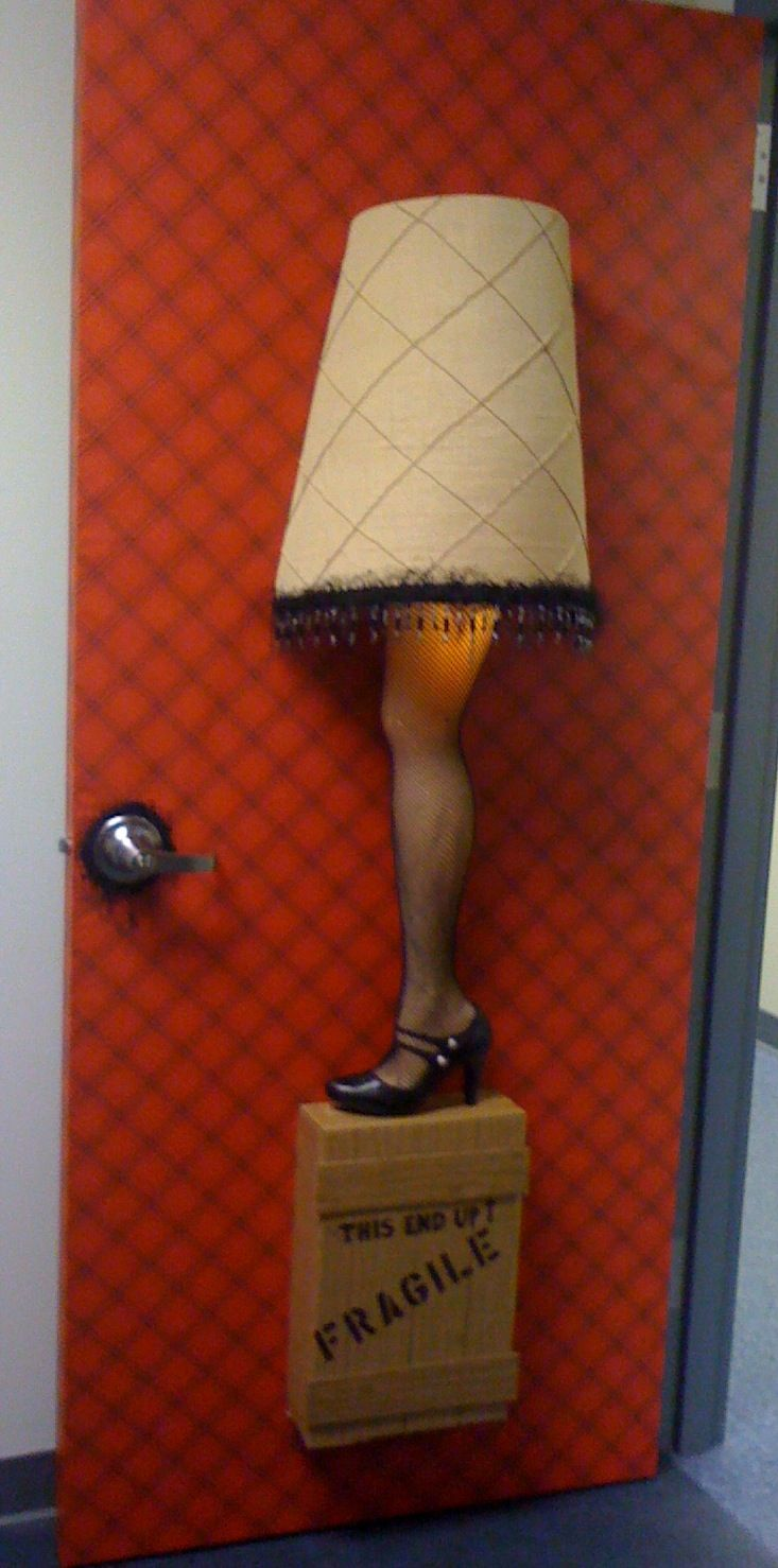 Leg lamp door decor from our office  Holiday Door DecorationsHoliday  DecoratingHoliday ...