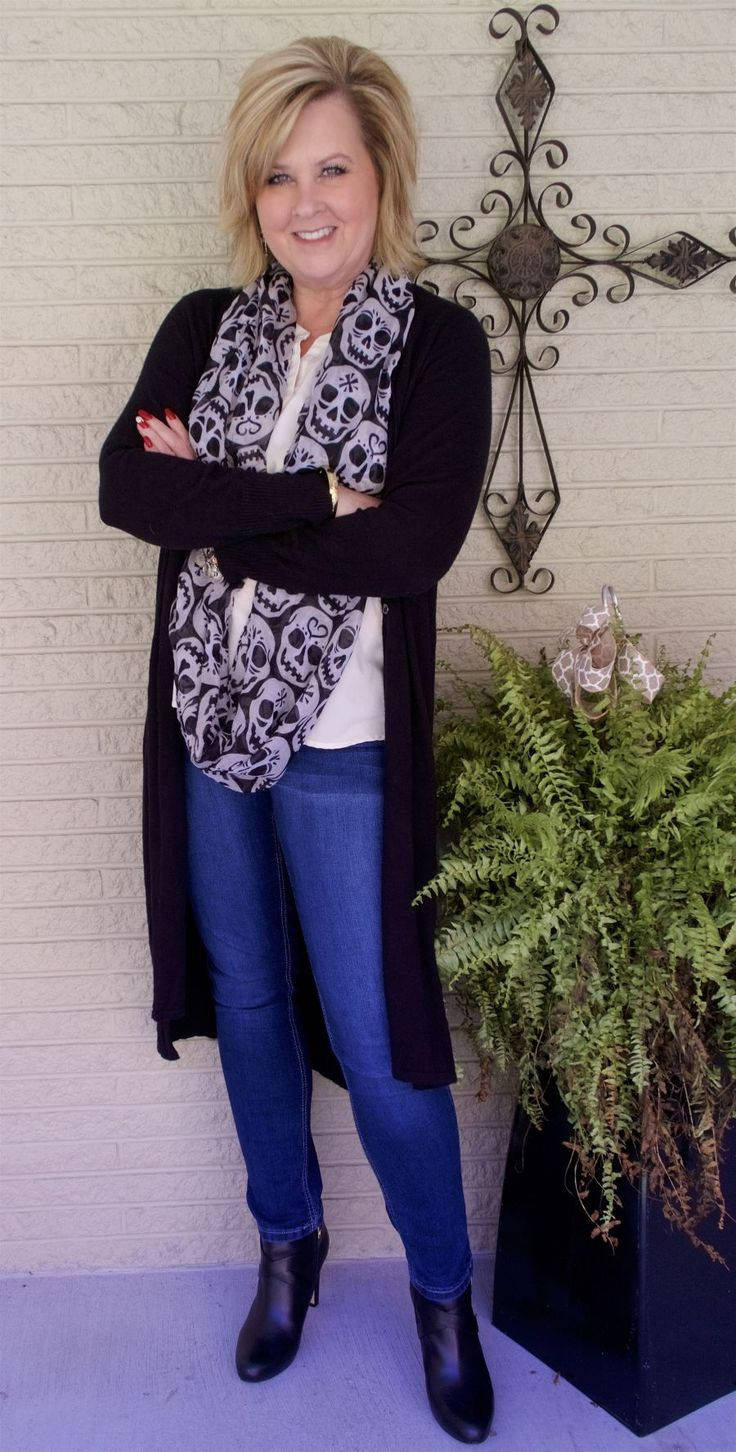 50 IS NOT OLD | HOW TO ACCESSORIZE FOR THE HOLIDAYS | Infinity scarf | Halloween outfit | Skulls | Skinny jeans and ankle boots | Fashion over 40 for the everyday woman