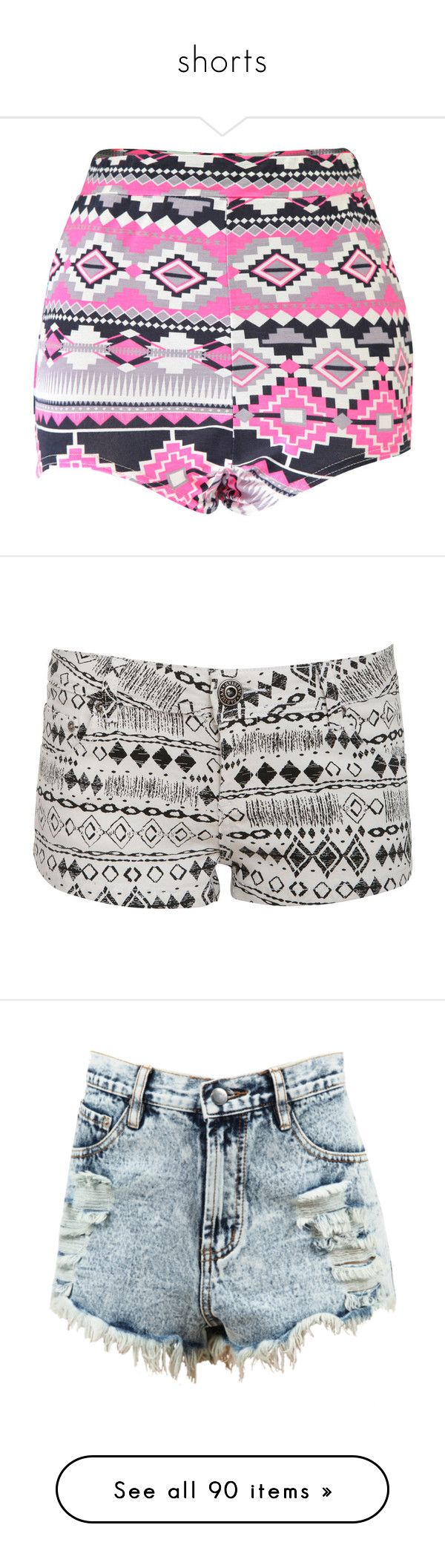 """shorts"" by ilovefashion-1234 ❤ liked on Polyvore featuring shorts, bottoms, pants, neon shorts, aztec print shorts, rayon shorts, aztec shorts, flat-front shorts, short and white mini shorts"