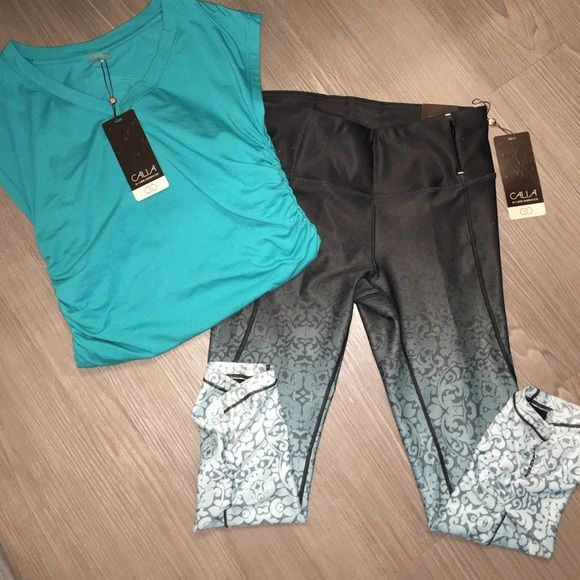 Calia Carrie Underwood ombré tights electric yoga Calia by Carrie Underwood two piece set . Brand new with tags . Both size small . Cali's solid jersey tunic . Color is winter fresh and size small. Cali's essential print tight . Size small . Tight fit. Dark grey and turns into light turquoise at bottom . Gathers at the bottom behind leg for a pretty touch . A little bit longer than Capri length depending on your height Small zipper side pocket . Color is ombré damask . Jersey tank blends…