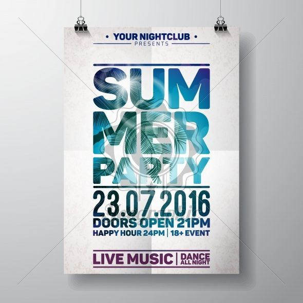 Vector Summer Beach Party Flyer Design with typographic elements on ocean landscape background. - Royalty Free Vector Illustration