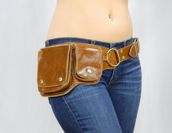 Hip Pack Leather Utility Belt - Brown (Functional design, beautiful belt. Great storage. Large enough to store ANY phone on the market)