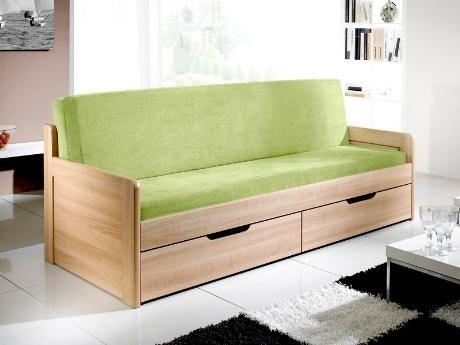 Rozkládací postel Trio v provedení třešeň lamino (což je jedna ze 12 barev, ve kterých se postel vyrábí). Vyrábí se v rozměrech 80 x 200 cm (po rozložení 160 x 200 cm) a 90 x 200 cm (po rozložení 180 x 200 cm). Postel má dvě zásuvky. / Trio sofa bed in cherry laminate (which is one of 12 colours, in which the bed can be produced). It's produced in sizes 80 x 200 cm (unfolded 160 x 200 cm) and 90 x 200 cm (unfolded 180 x 200 cm). There are two drawers. #sofa #bed #storage #rozkladaci #postel…