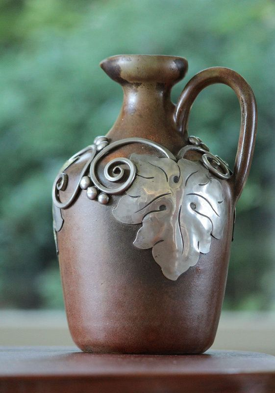 Art nouveau Pewter-Mounted Stoneware Jug, Kahler, Denmark