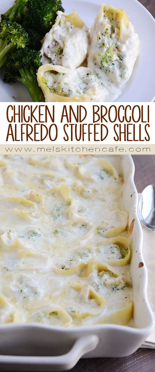 Cheesy chicken and broccoli alfredo stuffed shells! There's a lot to love here, including the simple, homemade alfredo sauce that takes this meal straight over the top.