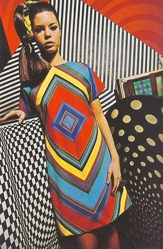 Op Art- also known as optical art, style of visual art that makes use of optical illusions. (the design on the dress)