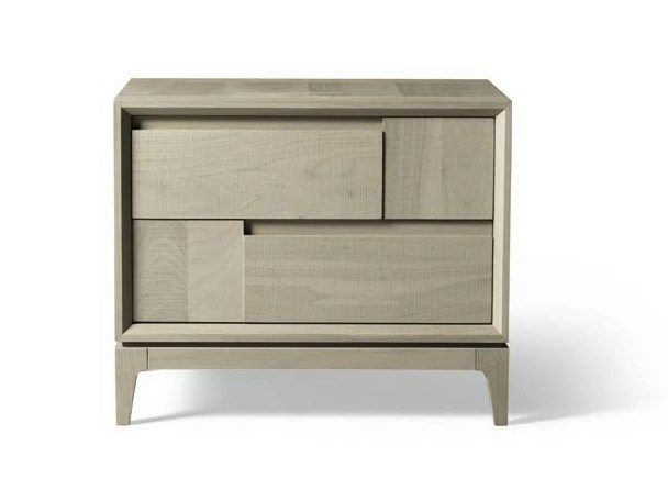 Rectangular walnut bedside table with drawers M-620 | Bedside table - Dale Italia