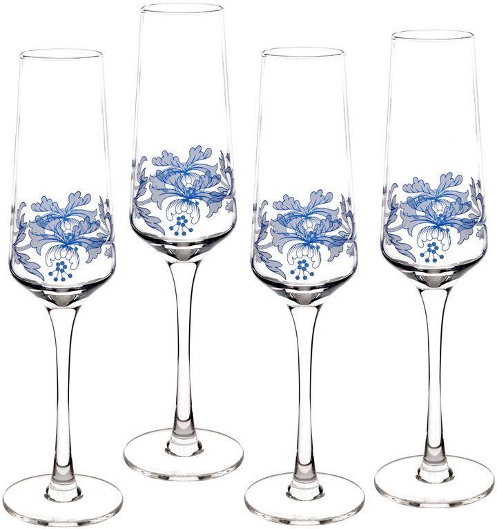 Spode Blue Italian Champagne Flutes (Set of 4)