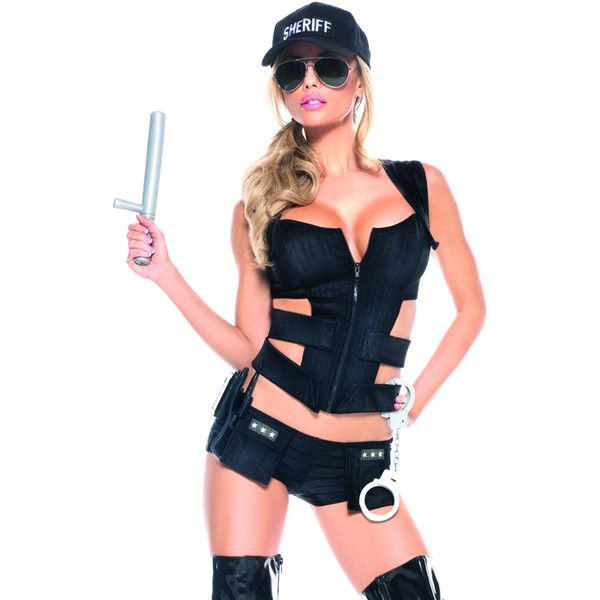 Sexy sheriff costume ($67) ❤ liked on Polyvore featuring costumes, blue halloween costume, sexy halloween costumes, sexy costumes, sheriff costume and sexy sheriff costume