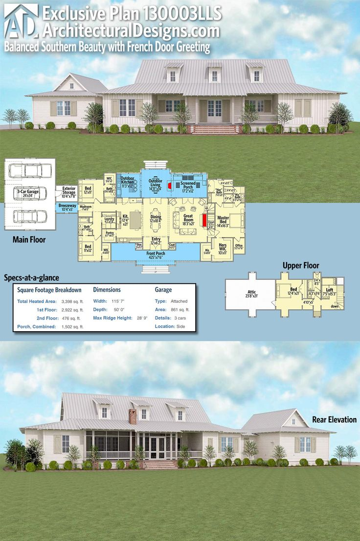Architectural Designs Exclusive Balanced Southern Beauty with