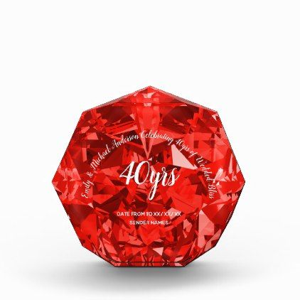 #RUBY 40th Wedding Anniversary RED CRYSTAL look Acrylic Award - #wedding gifts #marriage love couples