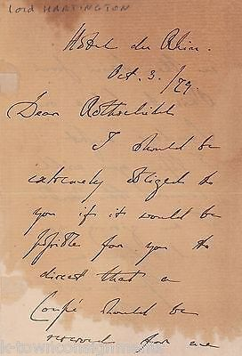 LORD HARTINGTON SPENCER CAVENDISH DUKE OF DEVONSHIRE AUTOGRAPHED TO ROTHSCHILD