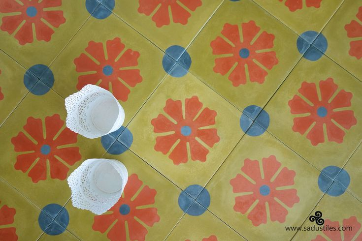 Flowers beneath your feet, how wonderful are these handmade cement tiles