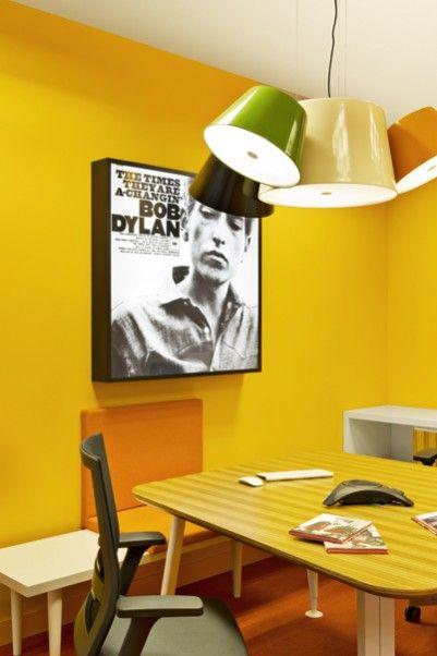 Tam tam pendant lamp by Fabien Dumas at Sony Music Headquarters in Madrid.