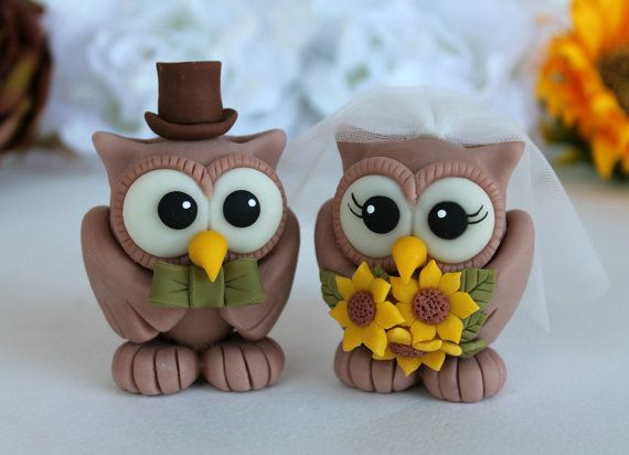 Custom wedding owl cake topper sunflower wedding by PerlillaPets